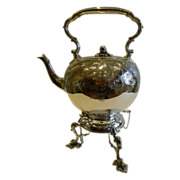 Grand Antique English Silver Plate Spirit Kettle c.1880