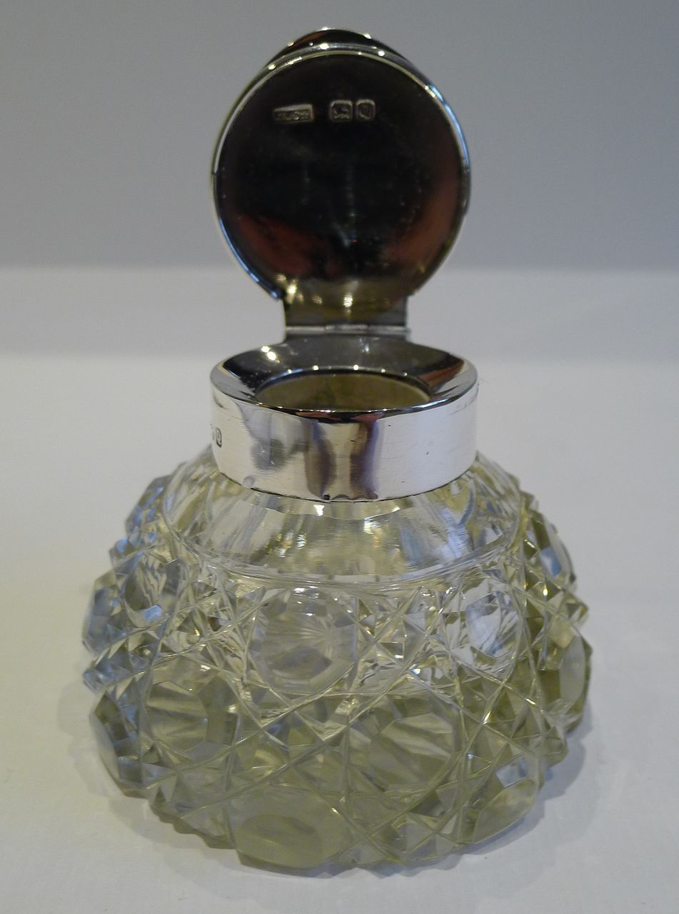 Handsome Antique English Cut Crystal Amp Sterling Silver