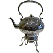 Stunning Garland Engraved Silver Plated Tea / Spirit Kettle c.1890