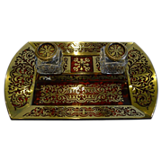 SOLD Fine English Regency Boulle Inkstand / Inkwell c. 1820