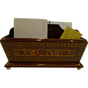 Very Unusual Antique English Tunbridge Ware Letter Rack / Stationery Holder