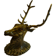 SOLD Antique English Figural Brass Inkwell - Original Glass Eyes - Stag, c.1880
