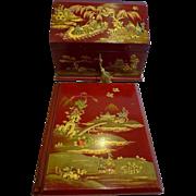 Antique English Edwardian Red Chinoiserie Desk Set c.1910