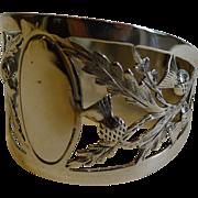 Antique English Sterling Silver Napkin Ring - Scottish Thistles - 1914