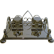 Antique English Silver Plated Inkstand / Inkwell by Mappin & Webb c.1900