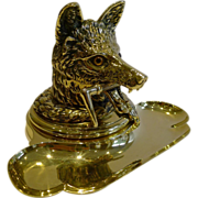 SOLD Antique English Cast Brass Figural Inkwell / Inkstand - Fox c.1880