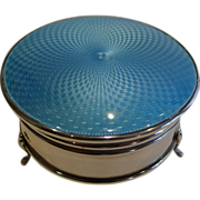 English Sterling Silver & Turquoise Guilloche Enamel Jewellery Box - 1925