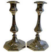 Pair Antique English Silver Plated Candlesticks by Elkington - 1851