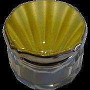 English Sterling Silver & yellow Guilloche Enamel Lidded Pot - 1936