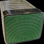 Small English Sterling Silver & Green Guilloche Enamel Pot