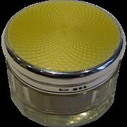 English Sterling Silver & Guilloche Enamel Jar or Box - 1940