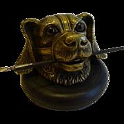 SOLD Handsome Antique English Novelty Figural Bronze Dog Inkwell