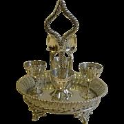 Fabulous Antique English Basket Weave Egg Cruet c.1880