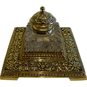 SOLD Antique English Brass and Glass Inkwell c.1890