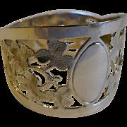 Antique English Sterling Silver Napkin Ring - Shamrocks - 1915