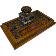 SOLD Antique English Carved Oak Inkstand / Inkwell c.1890