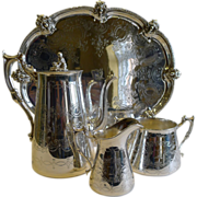 Antique English Silver Plated Coffee Set With Tray - Family Crest, c.1880