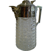 Handsome Antique English Cut Crystal & Silver Plated Claret Jug c.1880