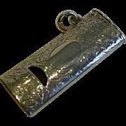 Antique English Novelty Sterling Silver Whistle Vesta - 1892