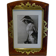 Large Antique Brass Mounted Wooden Photograph Frame c.1890