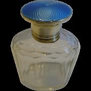 Sterling Silver & Blue Guilloche Enamel Lidded Cologne Bottle - 1929