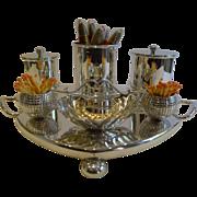 Rare Antique English Silver Plated Golf Themed Cigar Compendium c.1900