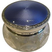 Stunning English Crystal, Sterling Silver and Guilloche Enamel Powder Bowl - 1923