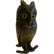 Fabulous Antique Figural Inkwell - Cast Brass or Bronze Owl With Glass Eyes c.1890