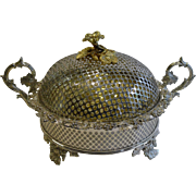 SOLD Magnificent and Unusual Antique English Silver Plated Covered Fruit Dish c.1890