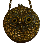 Charming Little Antique English Leather Coin Purse - Brass Owl - Glass Eyes