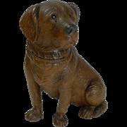 Large Antique Figural Black Forest Inkwell - Dog c.1890
