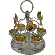 Unusual Antique English Silver Plated Egg Cruet For Six c.1900