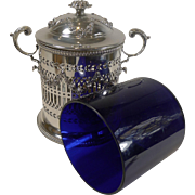 Stunning Antique English Silver Plated Biscuit Box With Blue Glass Liner c.1880