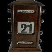 Large Antique English Oak Perpetual Desk Calendar c.1900