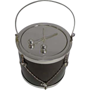 Fabulous Antique English Oak & Silver Plated Drum Form Biscuit Box / Barrel c.1890