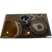 Antique Desk-Top Rocking Blotter In Scottish Agate c.1880
