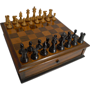 Antique English Games Box - Chess and Checkers; Rosewood and Fruitwood c.1880