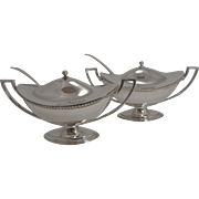 Elegant Pair Antique English Silver Plated Sauce Tureens by James Dixon and Sons c.1880