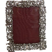 Stunning Antique English Cast Sterling Silver Photograph Frame - Cherubs - 1887