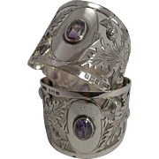 Fabulous Pair Antique English Sterling Silver Napkin Rings - Scottish Thistles and Amethyst Co