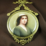 SOLD Victorian Hand Painted German Porcelain Plaque of Ruth - by Wagner