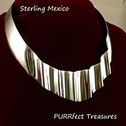 SOLD Sterling Silver Modernist Collar / Choker Necklace - Mexico