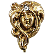 Antique 10K Gold Art Nouveau Lady Stick Pin