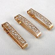 Art Deco 10K Gold Lingerie Clips - Set of 3