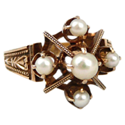 Mid Victorian 14K Rose Gold and Natural Pearl Ring - c. 1876