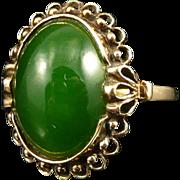 Vintage 10K Gold Jade Ring