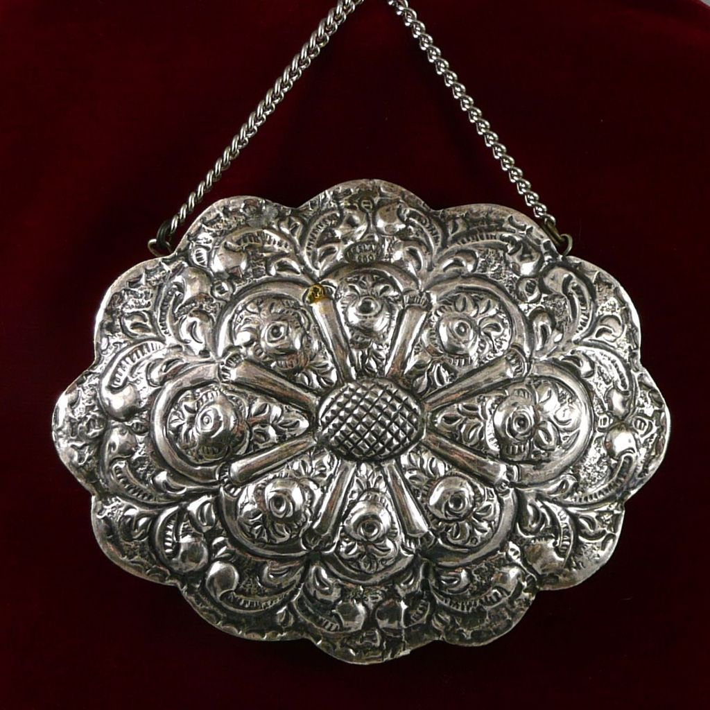 Turkish 900 Silver Embossed Wedding Mirror From Rubylane