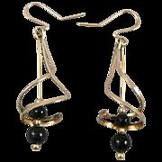 10K Gold & Black Onyx Bead Spiral Earrings