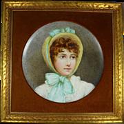 Vintage Framed Hand Painted Porcelain Portrait Charger of Girl