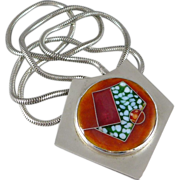 Modernist Sterling Silver Cloisonne Dichroic Glass Necklace